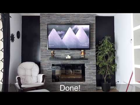 how to build an electric fireplace tv combo stone wall youtube rh pinterest com fireplace tv combo ideas fireplace tv combo wall