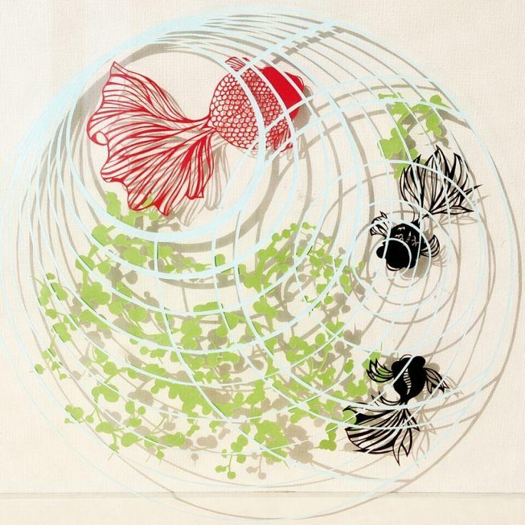 金魚の切り絵 |コトコト切り絵中 もっと見る