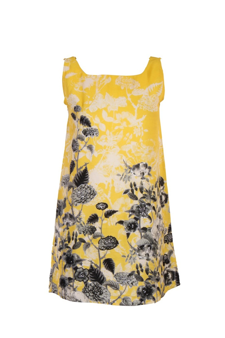 Yellow Printed Kurti In Shantung Fabric; Round Neck; Sleeveless; Sequin Embellishment; 32 Inches In Length #Wishful #Clothing #Fashion #Style #Kurti #Wear #Colors #Apparel #Semiformal #Print #Casuals #W for #Woman
