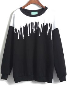 Black Long Sleeve Drop Patterned Print Loose Sweatshirt