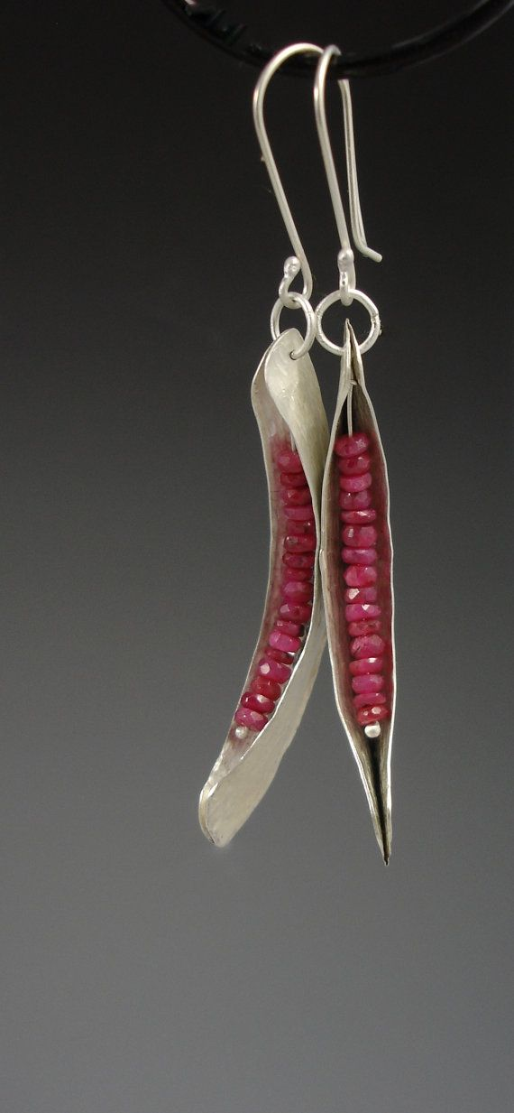 Ruby and silver fold formed dangle earrings