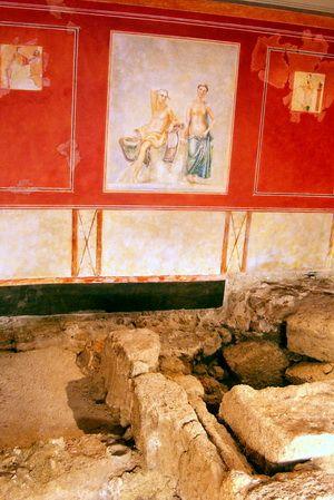 Pintura al fresco. Yacimiento arqueológico,La Casa del Obispo.