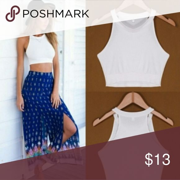 White or black crop top Simple and sweet white crop-top great with a variety of things! Available in only black right now (Brand for exposure) Free People Tops Crop Tops