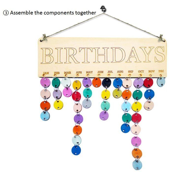 DIY Colorful Wooden Birthday Calendar Reminder Board Wall Hanging