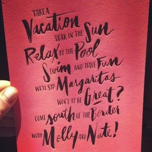 """This destination wedding invite paints a picture of relaxation and fun. Who could mark """"Declines with regrets"""" after seeing this?  Designed and printed by Ladyfingers Letterpress."""