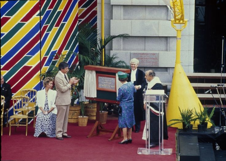 143834PD: Queen Elizabeth II officially reopening Forrest Place after a major refurbishment, 1988. Premier Peter Dowding stands at left. https://encore.slwa.wa.gov.au/iii/encore/record/C__Rb3762609