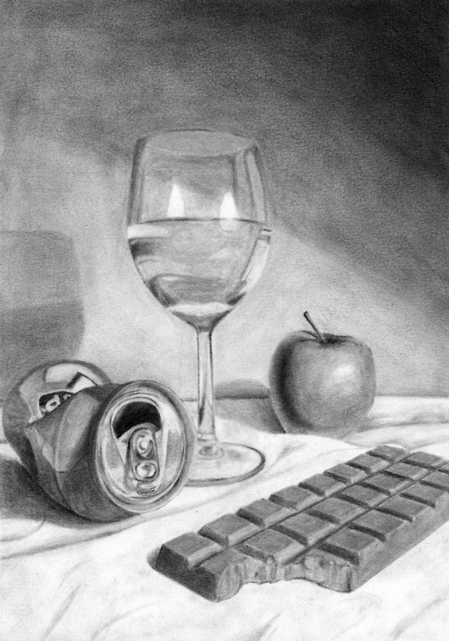 Still life drawing by Gabriel Uggla