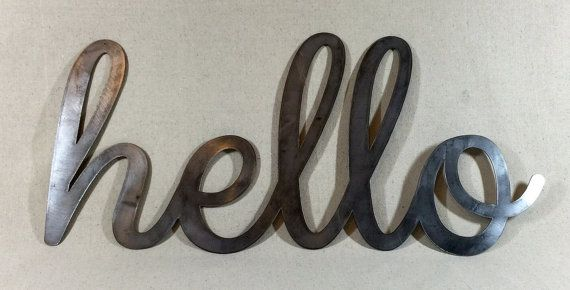 Extra Large Steel Hello Sign Industrial Sign Hello In Metal Sign 16 5 Quot X 35 Quot Hello Sign