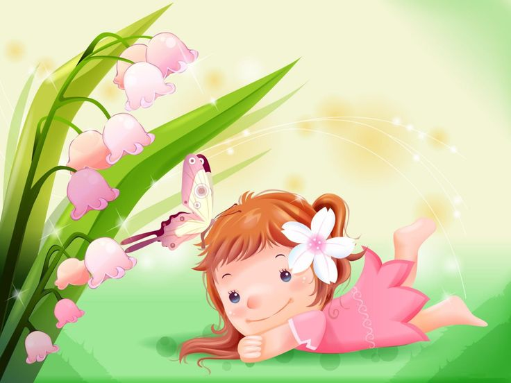 Cute little girl with butterfly cartoon wallpaper give - Cute cartoon hd images ...