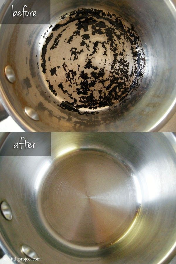 "Easiest way to clean a burnt pot - scrub free!  ""I poured in a generous amount of hydrogen peroxide and sprinkled on a nice pile of baking soda.  Then I swirled it around to get it to mix.  I let is sit for 6 hours and the burnt residue just dissolved off the pot!  I used my kitchen scrub brush to wipe it away."""