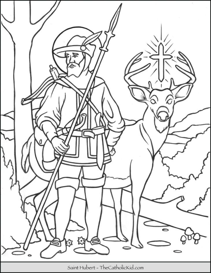 Saint Hubert Coloring Page Thecatholickid Com Coloring Pages
