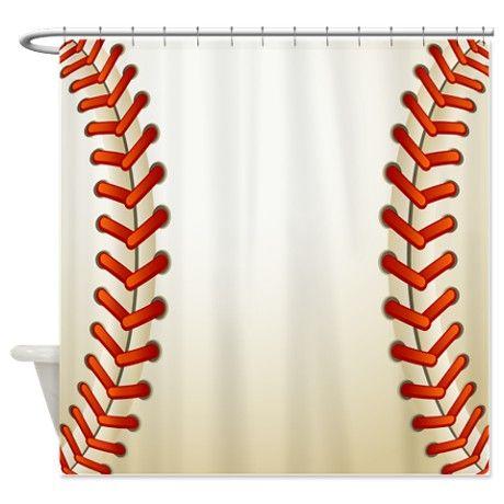 Baseball Texture Ball Shower Curtain on CafePress.com