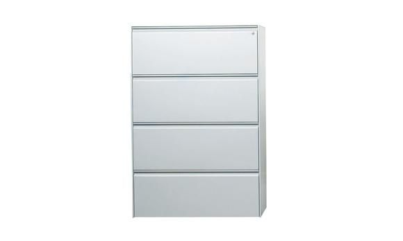 Lateral Filing Cabinet 4 Drawer Metal White. The lateral 4 drawer filing cabinet is ideal for individual and communal office storage. Never lose your private documents again in this well organized storage unit that provides ample space to order your files. Made with heavy duty steel and steel bearings, the unit is sure to last!