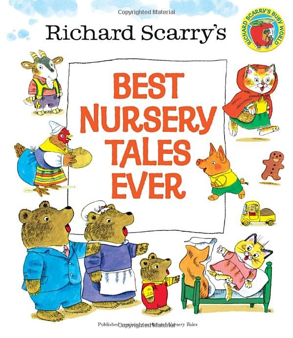 Richard Scarry's Best Nursery Tales Ever. Real fairy tales with the actual endings intact. (The Gingerbread man gets eaten, the Wolf gets boiled in a pot etc) ... One of the only modern fairy tales book for young kids that doesn't sanitize the endings!