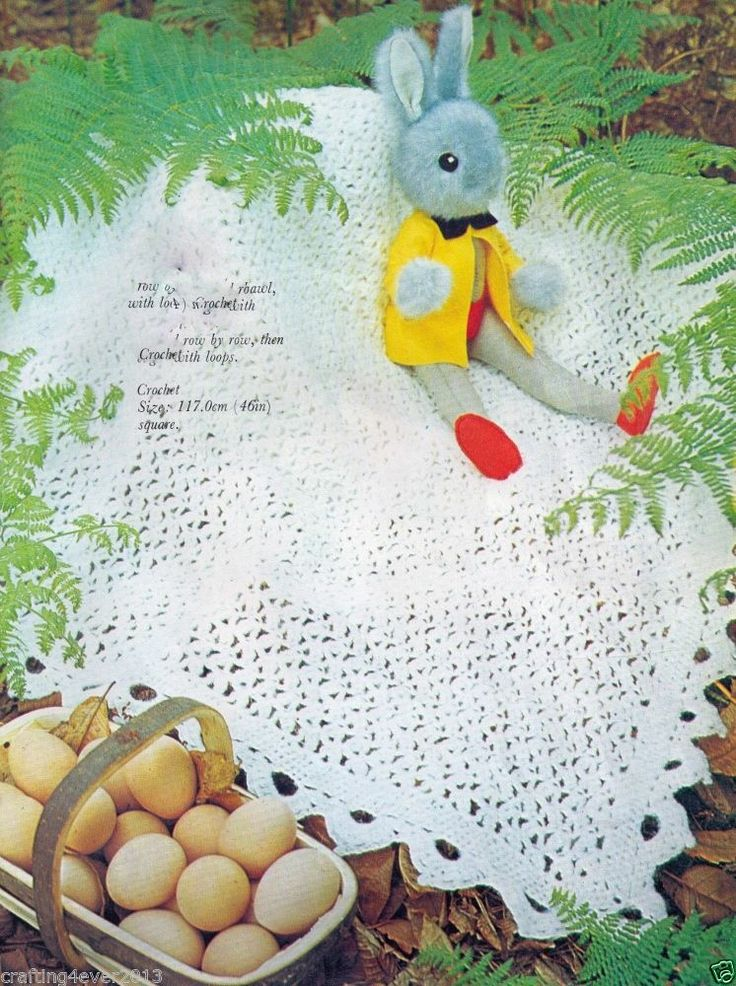 VINTAGE 70'S BABIES FAIRYTALE SQUARE SHAWL BLANKET 117 CMS 4 PLY CROCHET PATTERN