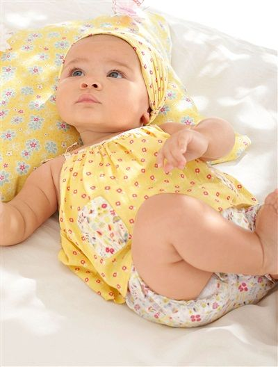 Baby 2-in-1 Effect Dress & Headscarf Outfit YELLOW LIGHT ALL OVE - vertbaudet enfant
