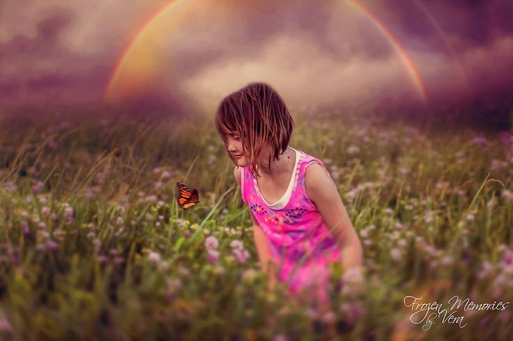"""Serenity"" Edited with one of my sky overlays, and added a rainbow and butterfly"