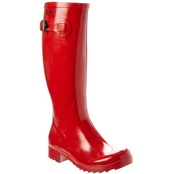 Aigle Aigle Brillantine Rain Boot (397985501) ($95) ❤ liked on Polyvore featuring shoes, boots, knee-high boots, red, red knee high boots, red knee boots, knee high boots, rubber sole boots and wellington boots