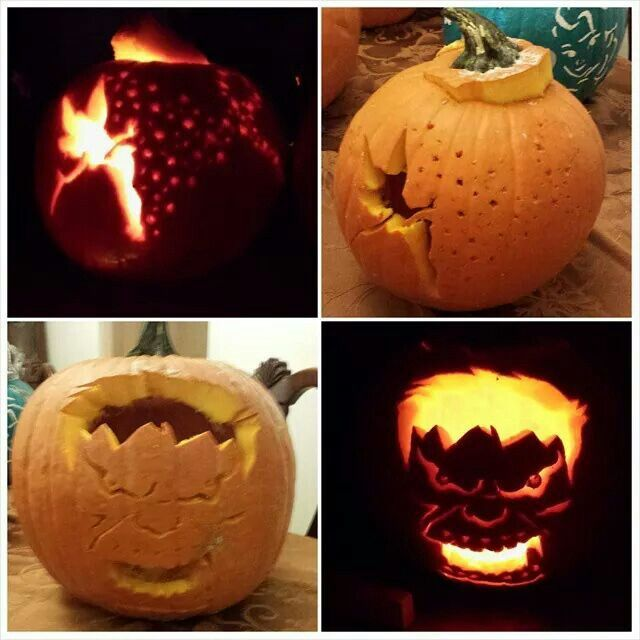 Tinker bell with fairy dust and the hulk pumpkin carvings