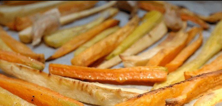 Frietjes  Koolraap in repen gesneden Knolselderij in repen gesneden 4 Winterpenen of gekleurde wortels in repen gesneden 2 el olijfolie 1/4 t