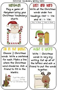 free christmas vocabulary charts and 8 writing tasks 5 pages - Christmas Writing Pages