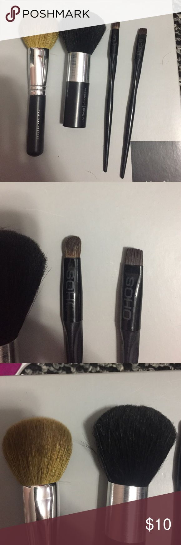 Makeup brushes Selling makeup brushes! Use every gently great condition. bare minderals brush :blush/bronzer.    Essence of beauty :fluffy for bronzer or all over face setting.  Soho : eye shadow brush/ liner or to define brows . Other