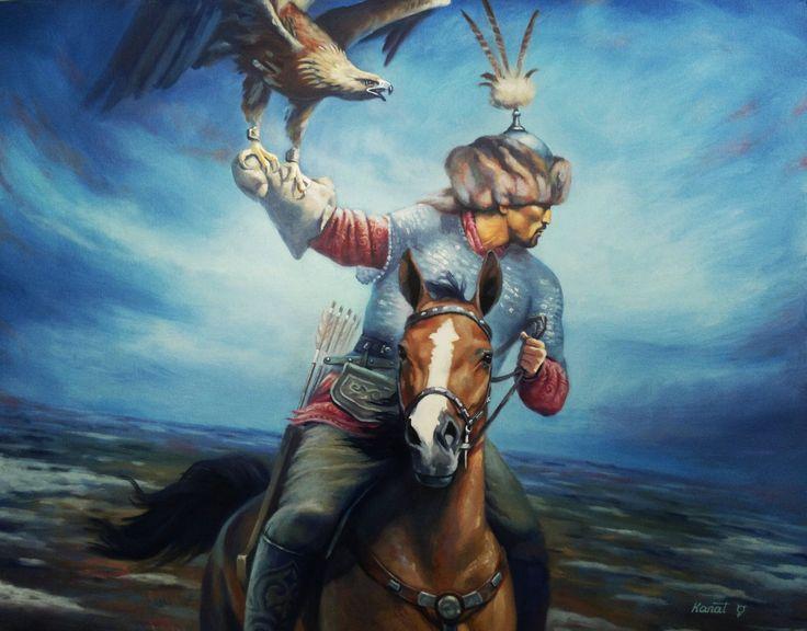 "Kazakh painter Kanat Zharas. ""Berkutshy"", i.e. Eagle hunter"
