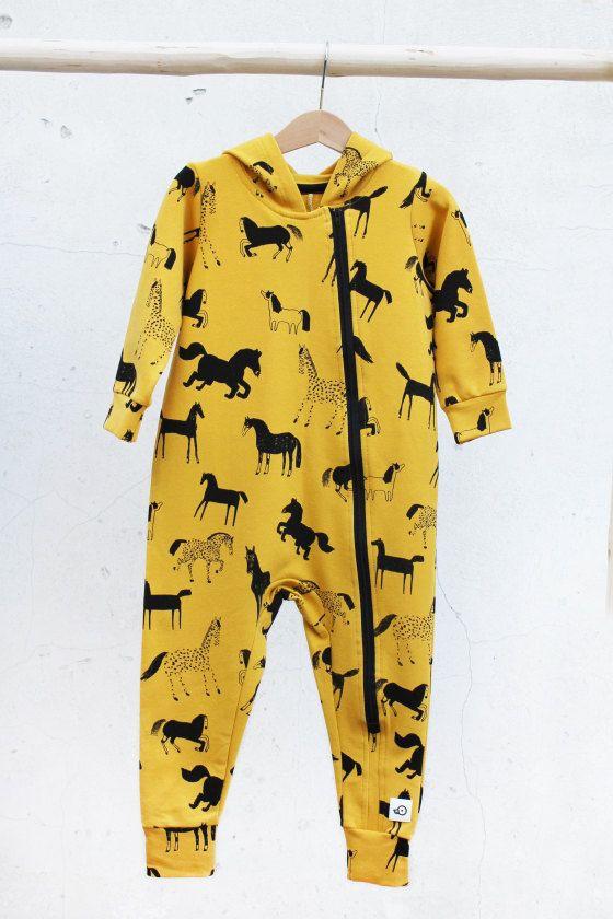 Onesie Mustard Horse prints, Baby Toddler Onesie Warm, Eco friendly by Pocopato on Etsy