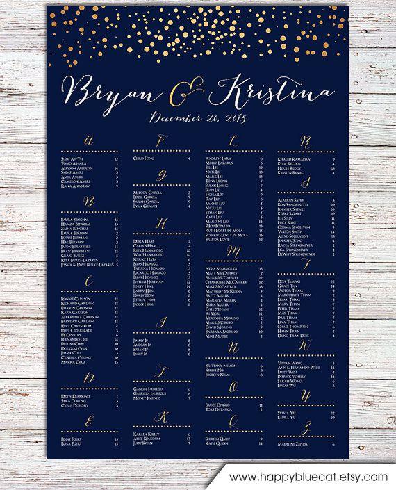 Wedding Seating Chart -  RUSH SERVICE - Gold Polka Dots Confetti Sprinkle Navy Wedding Seating Chart  Poster - Digital Printable File HBC104
