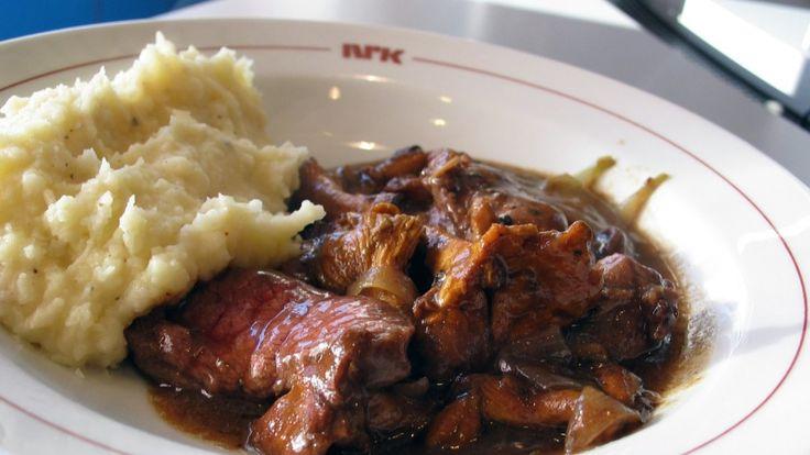 Sauté av elg med sopp og potetmos