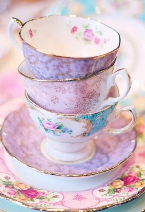 Lavender tea cups and cookies with pink roses. Description from pinterest.com. I searched for this on bing.com/images