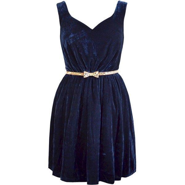 Paisie Velvet Dress, Navy (£30) ❤ liked on Polyvore featuring dresses, vestidos, robes, short dresses, blue, flared skirt, long-sleeve velvet dress, long-sleeve mini dress, blue party dress and navy blue cocktail dress