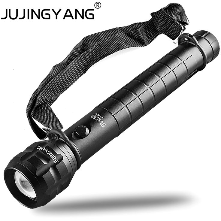 Self-defense aluminum alloy flashlight,Police torch flashlight With shoulder strap,5W LED Super bright portable searchlight zoom