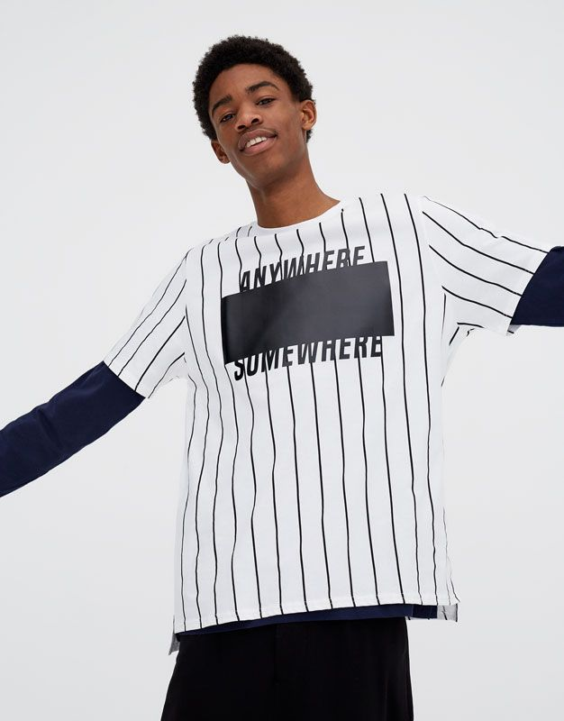 54a662ca5f166 Camiseta de rayas verticales y parche - Camisetas - Ropa - Hombre -  PULL BEAR España