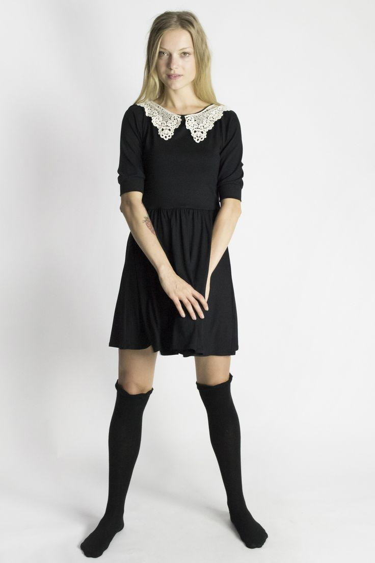 Straight Laced Black Jersey Dress / Lace Collar