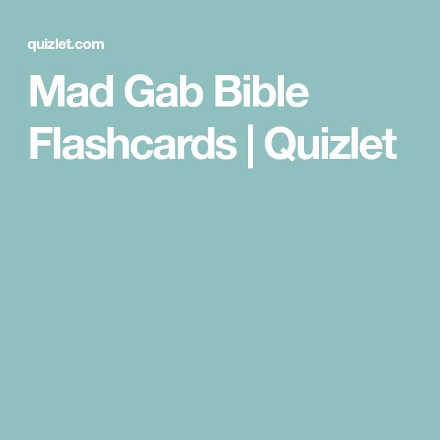 Mad Gab Bible Flashcards | Quizlet