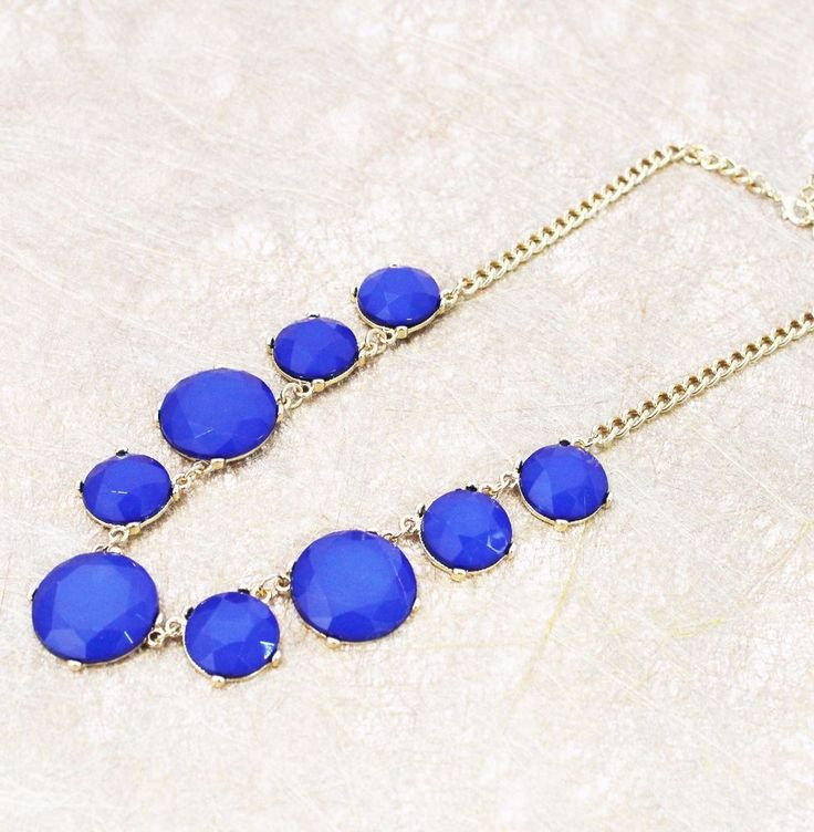 Edged blue bubble bib statement necklace