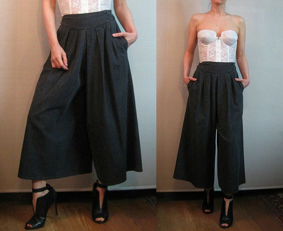 70s DENIM CHARCOAL PLEATED Gray Cotton Palazzo vtg by retasroses