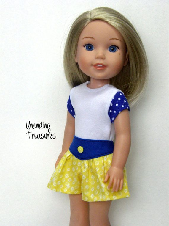 This 2 piece outfit will fit your 14 inch doll. Spend $30 or more and receive 15% off using coupon code: 15PERCENT during checkout.  ADD AS MANY OF MY ITEMS TO YOUR SHOPPING CART AND CHECK OUT AT ONE TIME, AND YOU ONLY PAY FOR SHIPPING ON THE FIRST ITEM. FREE SHIPPING ON ALL ADDITIONAL ITEMS AFTER THE FIRST ONE.  1. The white top with blue dotted sleeves is made with a knit fabrics. It opens/closes in the back with hook and loop tape . A Liberty Jane pattern was used.  2. The blue and…