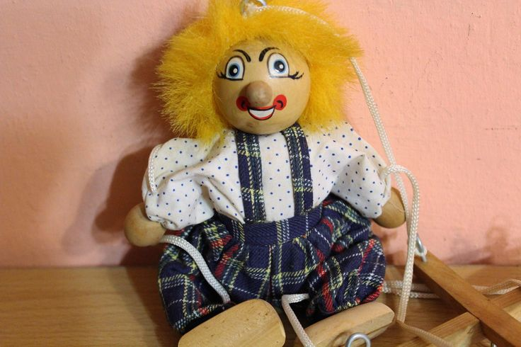 Vintage Wooden Marionette Clown Doll, Puppet Stringed Doll, Nursery Decor, Children's Wood Joker, Wooden Doll by Grandchildattic on Etsy