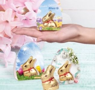 Promotional classic Lindt Gold Easter Bunny with full colour printed gift carton