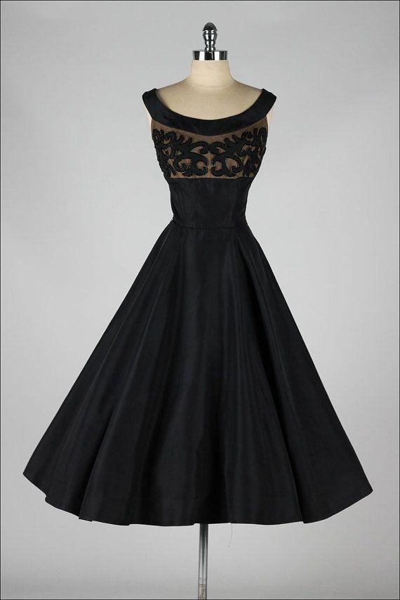 vintage 1950s dress . black taffeta . beaded by millstreetvintage