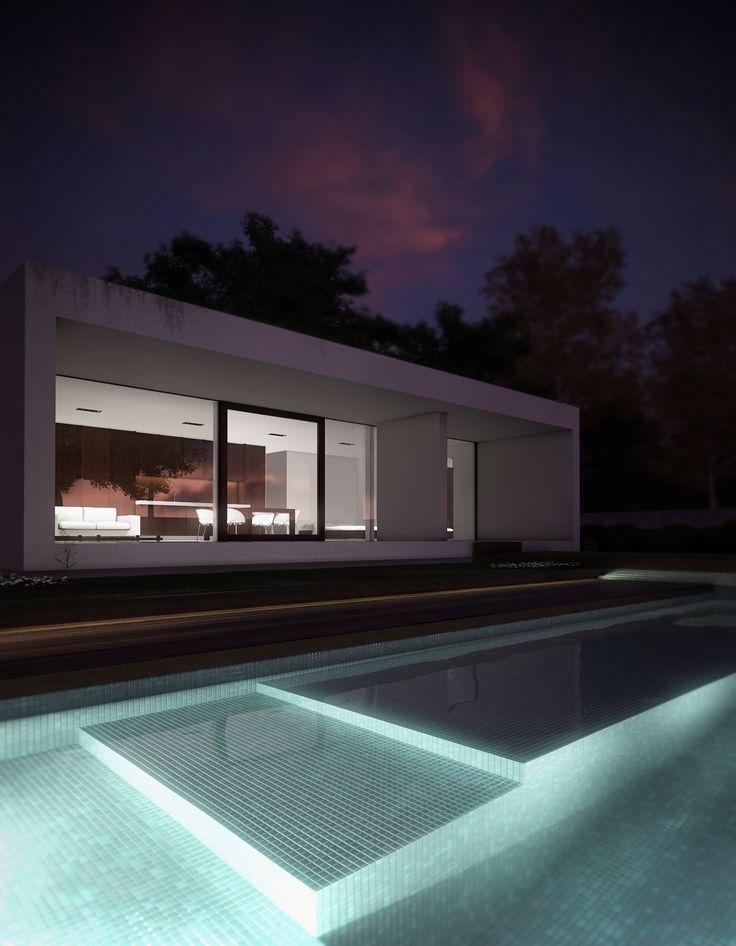 3d image, night house