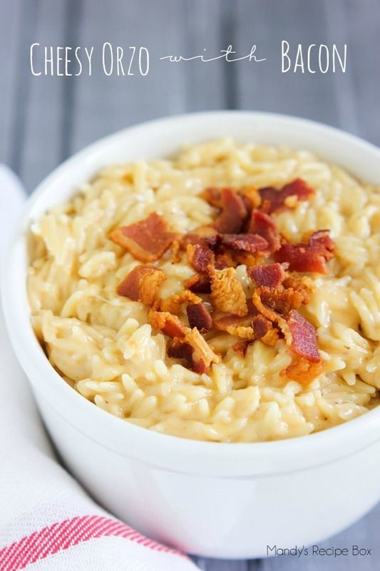 Cheesy Orzo with Bacon