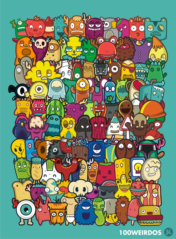 100 weirdos Character Design, Game Design, Illustration