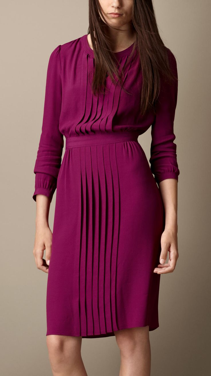 Pleat Detail Crepe Dress | Burberry