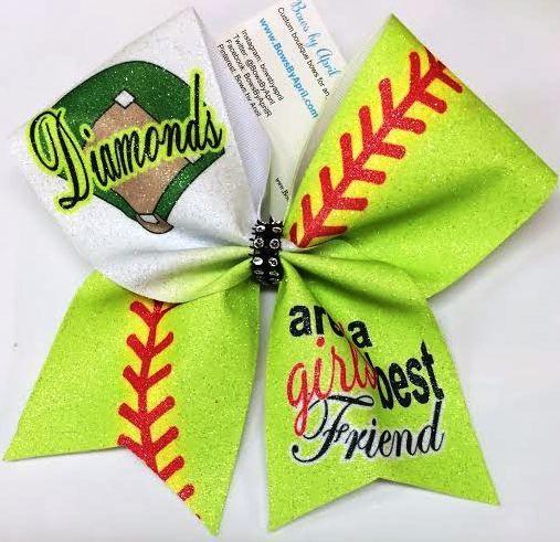 Bows by April - Diamonds are a Girls Best Friend Glitter Softball Bow, $15.00 (http://www.bowsbyapril.com/diamonds-are-a-girls-best-friend-glitter-softball-bow/)