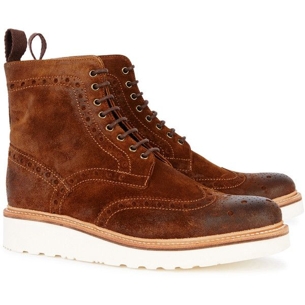 Grenson Fred Brown Suede Brogue Boots - Size 9 ($350) ❤ liked on Polyvore featuring men's fashion, men's shoes, men's boots, mens round toe cowboy boots, mens wing tip boots, mens suede wingtip shoes, mens wingtip shoes and mens wingtip boots