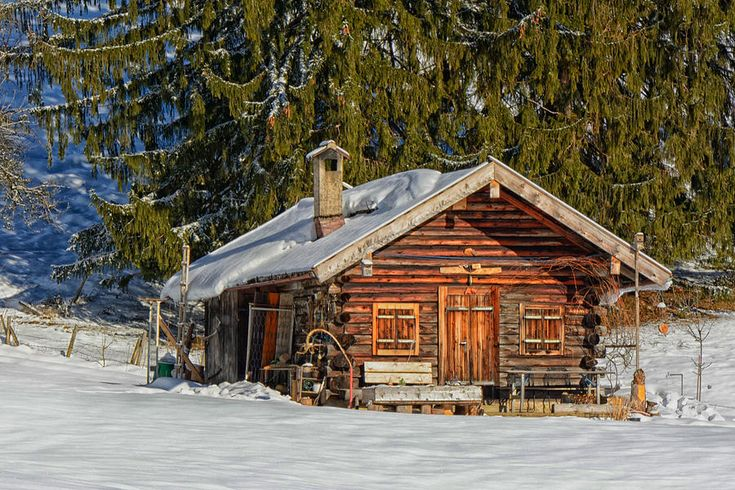 Log Cabin In Winter Mountains Germany by Mountain Dreams