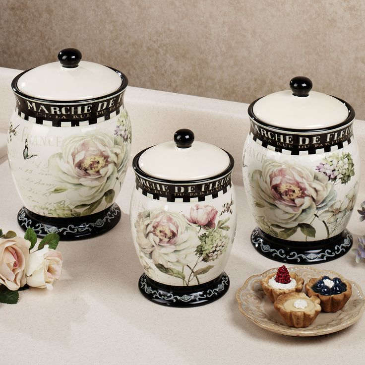Marche de fleurs kitchen canister set canisters pinterest kitchen canister sets canisters for Kitchen set elegant